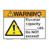 Warning Elevator Capacity Sign (F1171-)