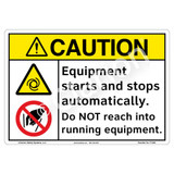 Caution/Equipment Starts and Stops Sign (F1328-)