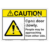 Caution/Open Door Slowly Sign (F1333-)
