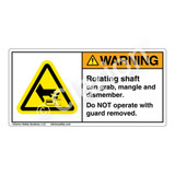 Warning/Rotating Shaft Label (H1006-341WH)
