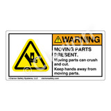 Warning/Moving Parts Present Label (H1017-PEWH)