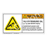 Warning/High Pressure Oil Label (H1041-342WH)