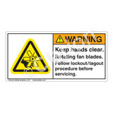 Warning/Keep Hands Clear Label (H1047-WXWH)