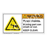 Warning/Pinch Points Label (H1098-405WH)