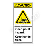 Caution/Pinch Point Hazard Label (H1105-G3CV)