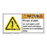 Warning/Pinch Point Label (H1154-T26WH)