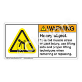 Warning/Heavy Object Label (H5101-BKWH)