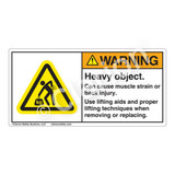 Warning/Heavy Object Label (H5158-437WH)