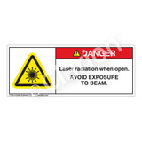 Danger/Laser Radiation When Open Label (H6003-138DH)