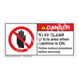 Danger/Stay Clear Label (H6008-26DH)