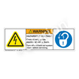 Warning/Hazardous Voltage Label (H6010/6011-B1WH)