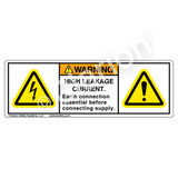Warning/High Leakage Current Label (H6010/6014-2BWH)