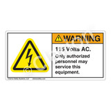 Warning/115 Volts AC Label (H6010-177WH)