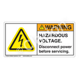 Warning/Hazardous Voltage Label (H6010-18WH)