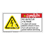 Danger/Hazardous Voltage Label (H6010-218DH)