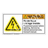 Warning/Hazardous Voltage Inside Label (H6010-478WH)
