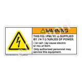 Warning/This Equipment is Supplied Label (H6010-483WH)