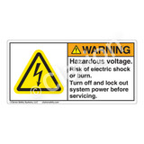 Warning/Hazardous Voltage Label (H6010-97WH)