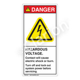 Danger/Hazardous Voltage Label (H6010-B1DV)
