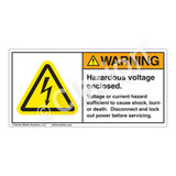 Warning/Hazardous Voltage Label (H6010-BGWH)