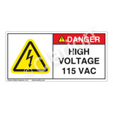 Danger/High Voltage 115 Vac Label (H6010-C79DH)