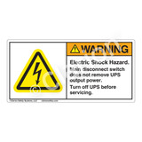 Warning/Electric Shock Hazard Label (H6010-G22WH)