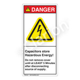 Danger/Capacitors Store Label (H6010-H50DV)