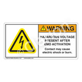 Warning/Hazardous Voltage Present Label (H6010-J71WH)