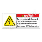 Danger/Severe Shock Hazard Label (H6010-KEDH)