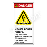 Danger/Severe Shock Hazard Label (H6010-KEDV)