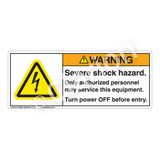 Warning/Severe Shock Hazard Label (H6010-KEWH)