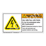 Warning/Hazardous Voltage Label (H6010-L87WH)