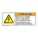 Warning/Hazardous Voltage Label (H6010-PGWH)