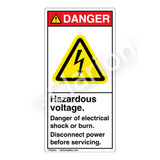 Danger/Hazardous Voltage Label (H6010-PPDV)