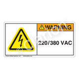 Warning/220 380 Vac Label (H6010-V33WH)