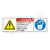 Danger/Equipment Starts Automatically Label (H6014/6011-PNDH)