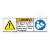 Warning/To Avoid Injury Label (H6014/6126-D58WH)