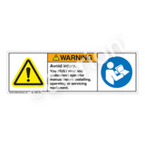 Warning/Avoid Injury Label (H6014/6126-GP3WH)