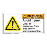 Warning/Avoid Injury Label (H6014-421WH)
