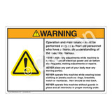 Warning/Operation and Maintenance Label (H6014-9UWHP-)