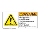 Warning/Automated Machinery Label (H6014-GCWH)