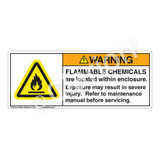 Warning/Flammable Chemicals Label (H6020-NJWH)