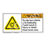 Warning/Equipment Starts Automatically Label (H6045-C08WH)