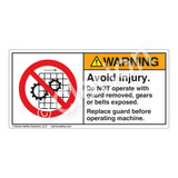 Warning/Avoid Injury Label (H6061-H6WHP)