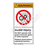 Warning/Avoid injury Label (H6061-H6WV)