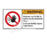 Warning/Access Restricted Label (H6062-EVWH)