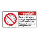 Danger/To Avoid Injury Label (H6110-M1DH)