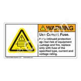 Warning/Use Correct Fuse Label (H6130-B81WH)