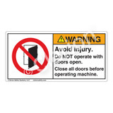 Warning/Avoid Injury Label (H6141-VPWH)