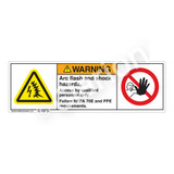 Warning/Arc Flash & Shock Hazard Label (H6643/6062-V25WH)